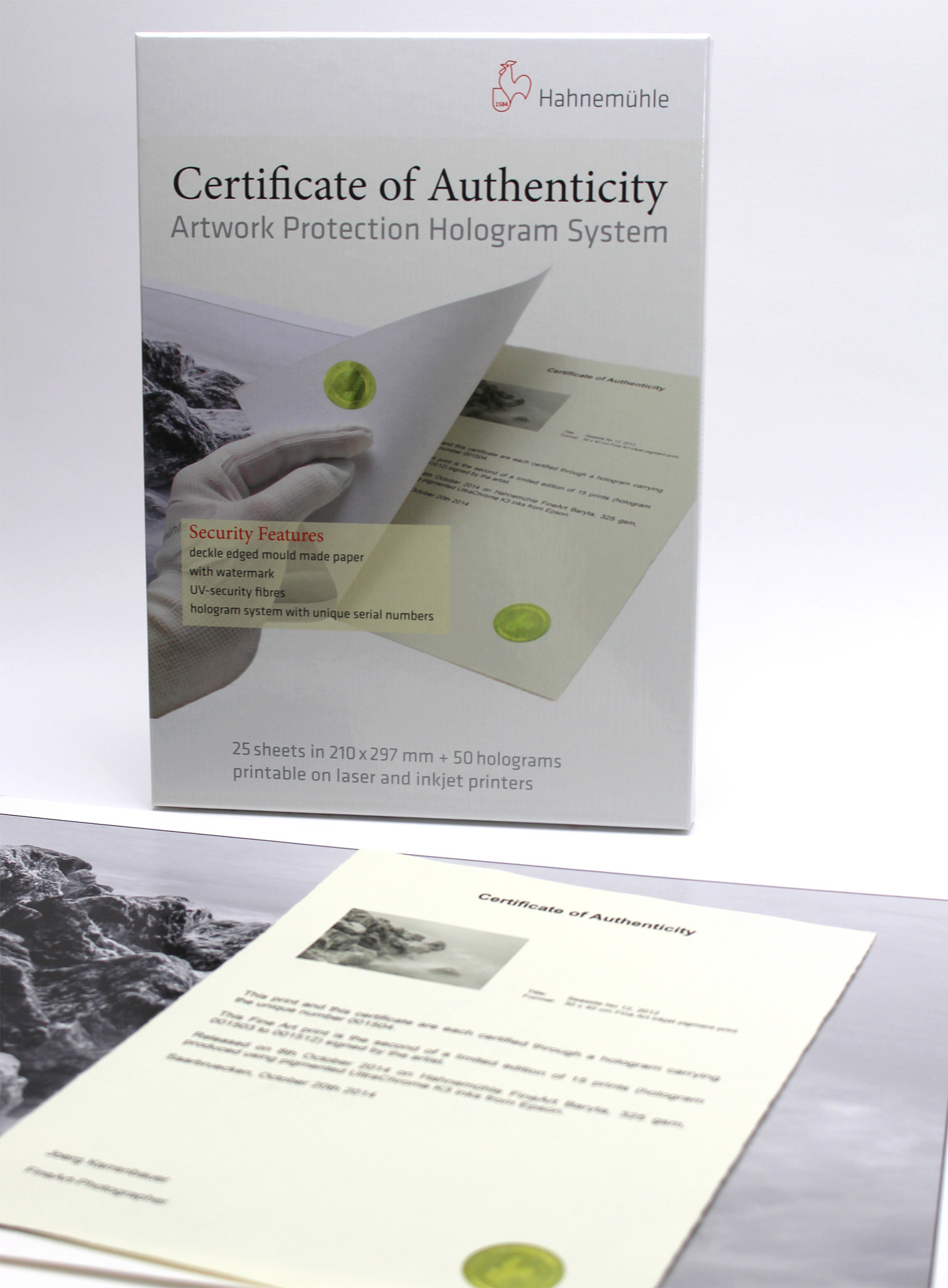 Certificate of Authenticity 8.27 x 11.69 - 25 sheets w/ 50 holog