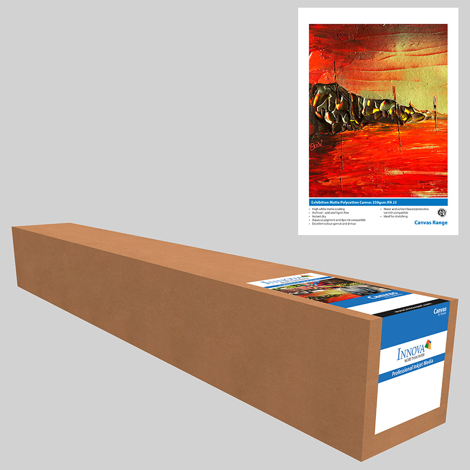 "Exhibition Matte Polycotton Canvas 350gsm 60"" x 15m Roll"