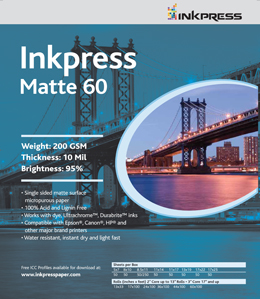 "Inkpress Matte 60- 200gsm, 8"" x 10""- 50 sheets"