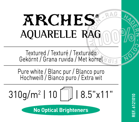 "Arches Aquarelle Rag 310gsm 8.5""x11"" - 10 sheets"