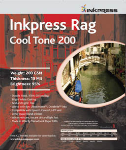 "Inkpress Picture Rag Cool Tone Paper-200 gsm 4""x6""-50 sheets"