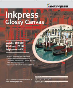 "Inkpress Glossy Canvas, 17""x22""-10 sheets"