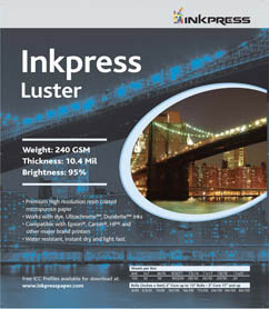 "Inkpress Luster paper-240gsm 11""x14""- 20 shts."