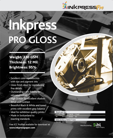 "Inkpress Pro Gloss 330gsm 11""x17""- 50 sheets"