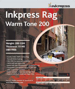"Inkpress Picture Rag Warm Tone Paper-200 gsm 5""x7""-50 sheets"