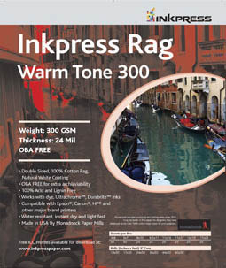 "Inkpress Picture Rag Warm Tone Paper-300 gsm 4""x6""-50 sheets"