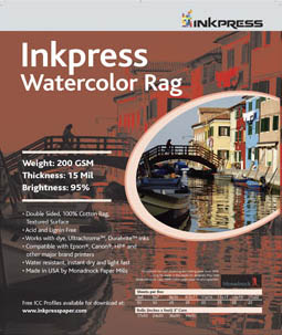 "Inkpress Watercolor Rag, 8.5"" x 11""-25 sheets"